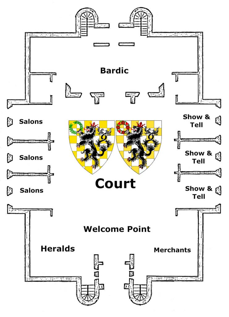 An image of a castle floor plan to show the different activities happening at Ethereal 12th Night 2021